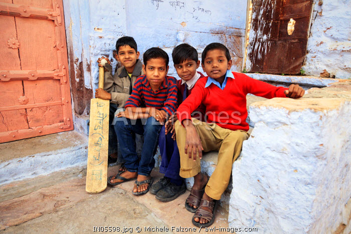 India, Rajasthan, Jodhpur, Old Town, Local Children