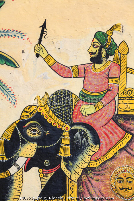 India, Rajasthan, Udaipur, City Palace Complex, detail of wall paintings