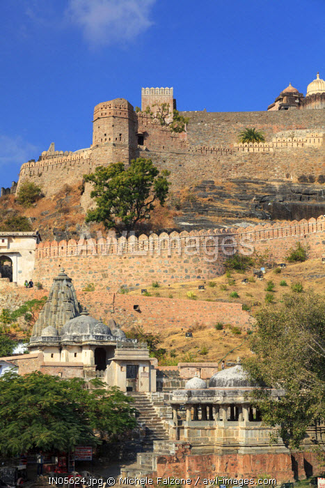 India, Rajasthan, Kumbhalgarh Fortress (second longest wall in the world)