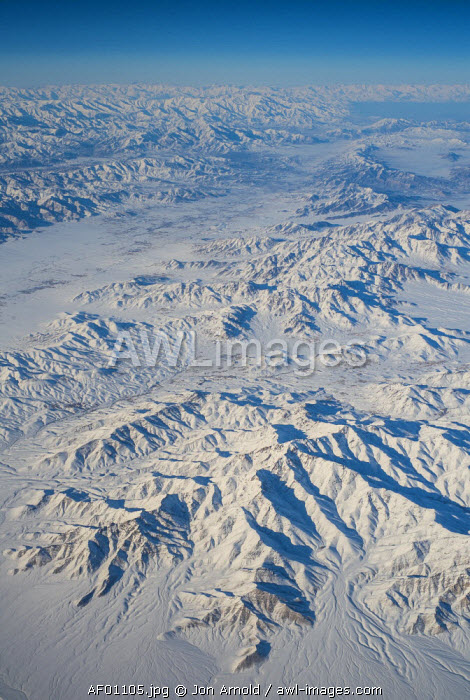Aerial view over central Afghanistan