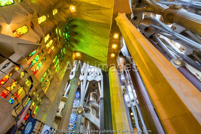 Interior, Sagrada Familia, Barcelona, Catalonia, Spain