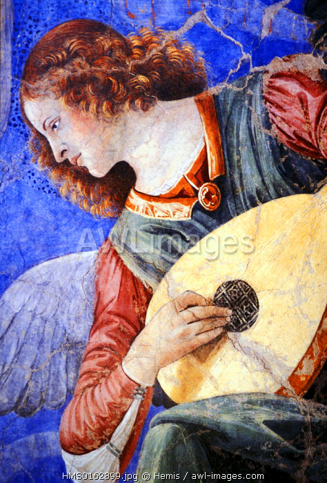 Italy, Lazio, Rome, Vatican City listed as World Heritage by UNESCO, Vatican Museums, angel playing a lute from a fresco painted by Melozzo da Forli (1438-1494), copy from part of a fresco in the Church of the SS Apostoli