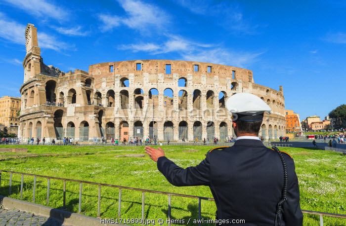 Italy, Lazio, Rome, historical centre listed as World Heritage by UNESCO, the Colosseum or Coliseum is the largest amphitheatre of the Roman Empire, built between 70 and 80 AD