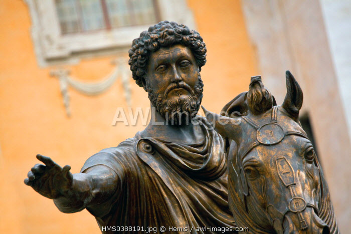 Italy, Lazio, Rome, historical center listed as World Heritage by UNESCO, Piazza del Campidoglio (Capitol Square), Marcus Aurelius equestrian statue