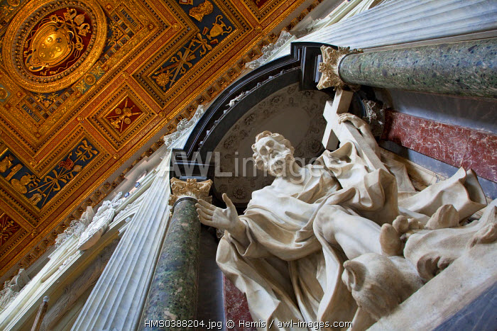 Italy, Lazio, Rome, historical center listed as World Heritage by UNESCO, San Giovanni Laterano basilica, St Philip statue
