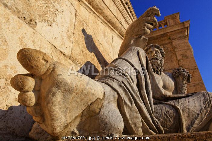 Italy, Lazio, Rome, historical center listed as World Heritage by UNESCO, Piazza del Campidoglio (Capitol Square), close-up of a statue