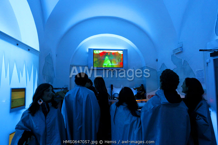 Italy, Lazio, Rome, historical center listed as World Heritage by UNESCO, young people waiting to enter the room of the Ice Club bar, located at the 18 Via Madonna dei Monti
