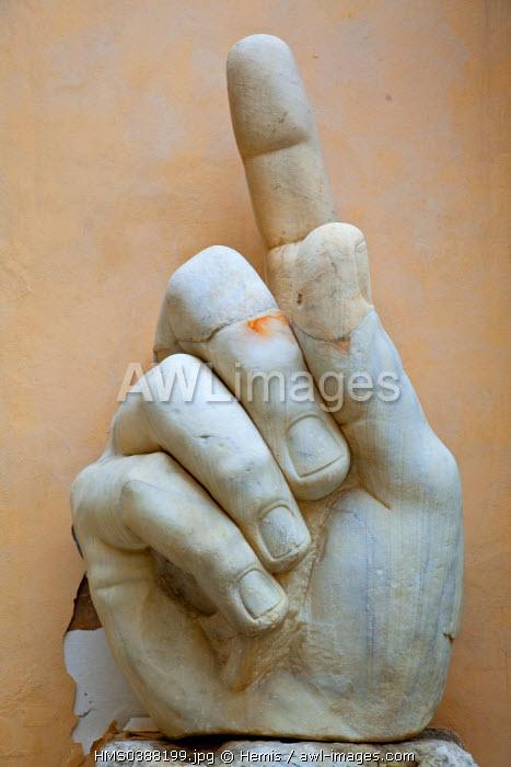 Italy, Lazio, Rome, historical center listed as World Heritage by UNESCO, Piazza del Campidoglio (Capitol Square), Capitol museum, Constantine statue head