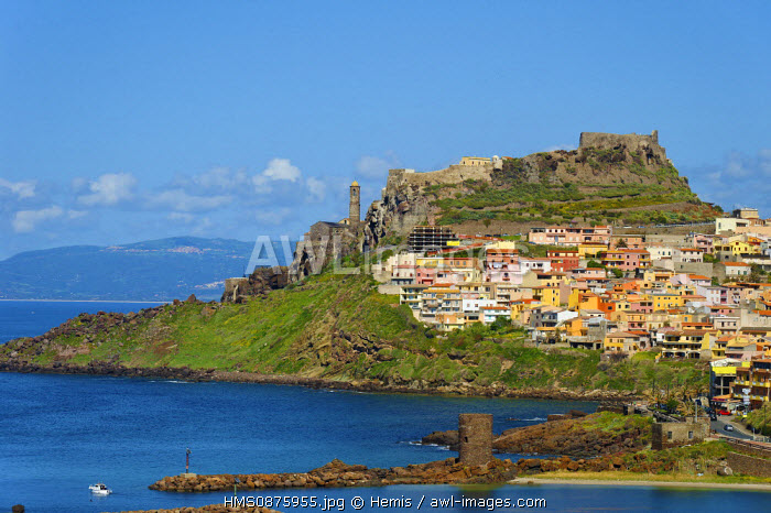 Italy, Sardinia, Sassari Province, Gulf of Asinara, Castelsardo, medieval city founded in the 12th century by the Genoese and built on a rocky promontory with Tower in the foreground Frigiano