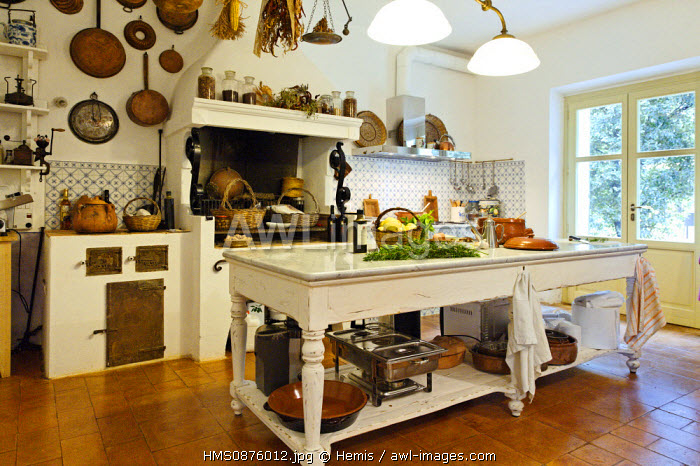 Italy, Sardinia, Sassari Province, Fertilia, Leda d'Ittiri farmhouse, within traditional Sardinian cooking, contain ingredients on a table in front of a fireplace