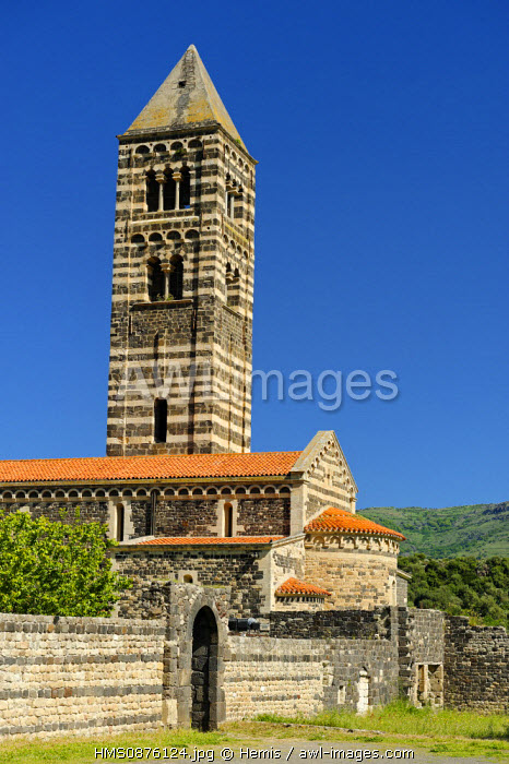 Italy, Sardinia, Sassari Province, Codrongianos, Saccargia contruite Basilica of the 12th century edifice built with black basalt and white limestone characteristic of the Sardinian architecture