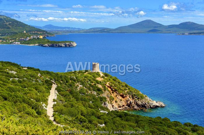 Italy, Sardinia, Sassari Province, Cape Caccia, Tramariglio, Bay of Porto Conte, landscape of limestone cliff overlooking the sea from Cape Caccia with a defense tower in the foreground