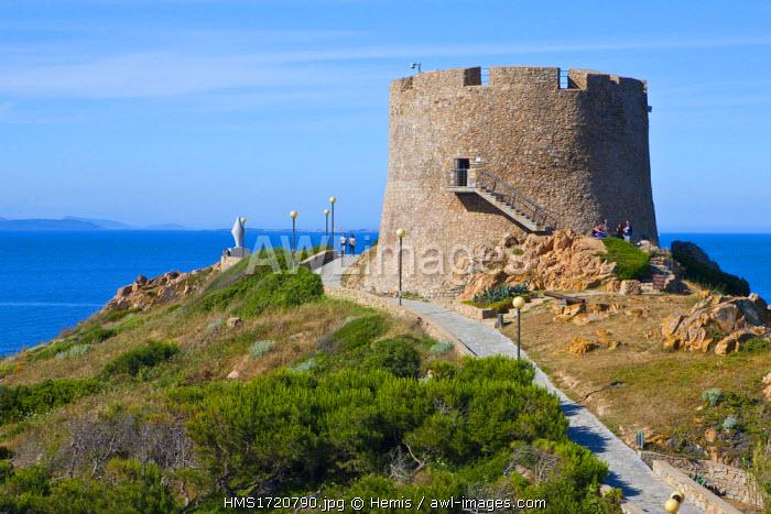 Italy, Sardinia, Province of Olbia-Tempio, Santa Teresa Gallura, Longosardo defensive tower built in the sixteenth century Spanish
