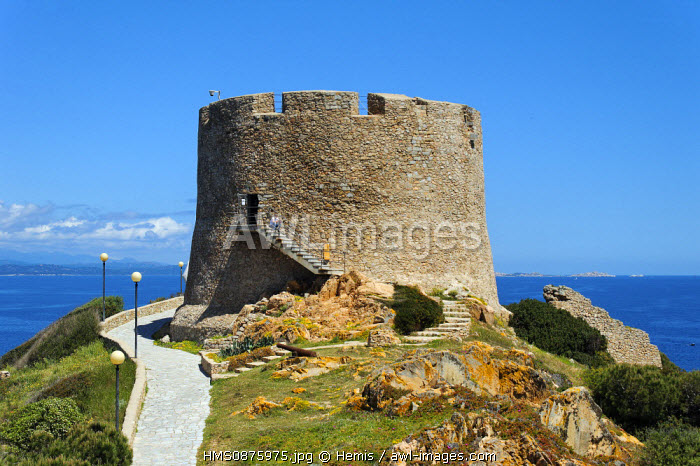 Italy, Sardinia, Olbia Tempio Province, Santa Teresa Gallura, defensive tower of the 16th century Longosardo built by the Spanish