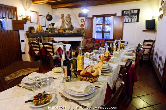 Italy, Sardinia, Olbia Tempio Province, Aggius, farmhouse il Utto di Gallura, table prepared in a dining room with a fireplace in the background