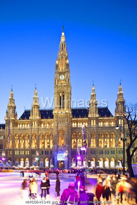 awl-images.com - Austria / Austria, Vienna, Ring, City Hall (Rathaus) by architect Friedrich von Schmidt, Neo-Gothic style, built between 1872 and 1883, Ice-skating rink for the Winter