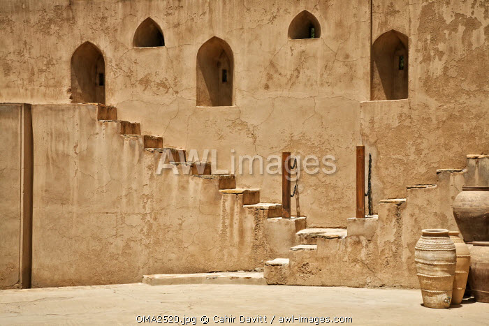 awl-images.com - Oman / Steps and arched windows of Jabrin Fort, Jabrin, Nizwa, Ad Dakhiliyah Governorate, Oman.