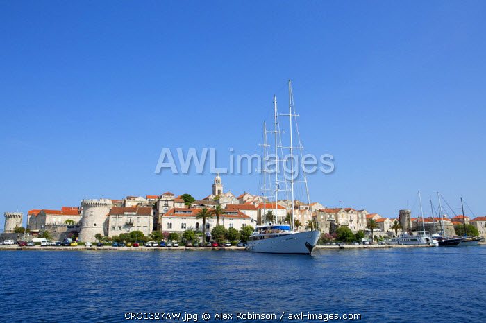 awl-images.com - Croatia / Europe, Croatia, Dalmatia, Korcula island, Korcula town, showing the fortified city walls and moored super yachts