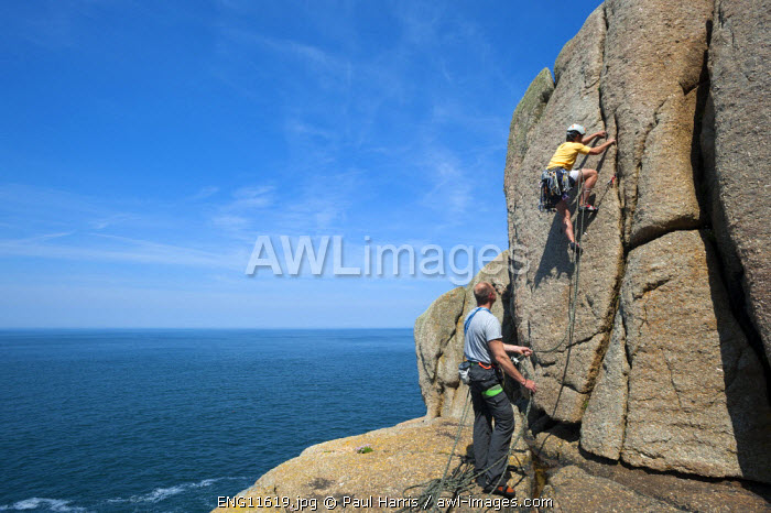awl-images.com - England / Rock climbing at Sennen Cove, Lands End Peninsula, Cornwall, England