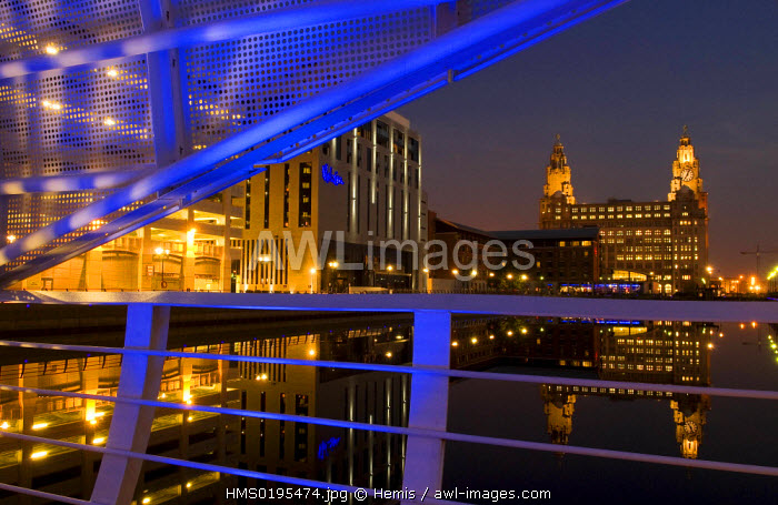 awl-images.com - England / United Kingdom, Liverpool, the Pier Head, listed as World Heritage by UNESCO, The Royal Liver Building, one of the Three Graces, seen from the Princess Dock, and on the left the Malmaison Hotel
