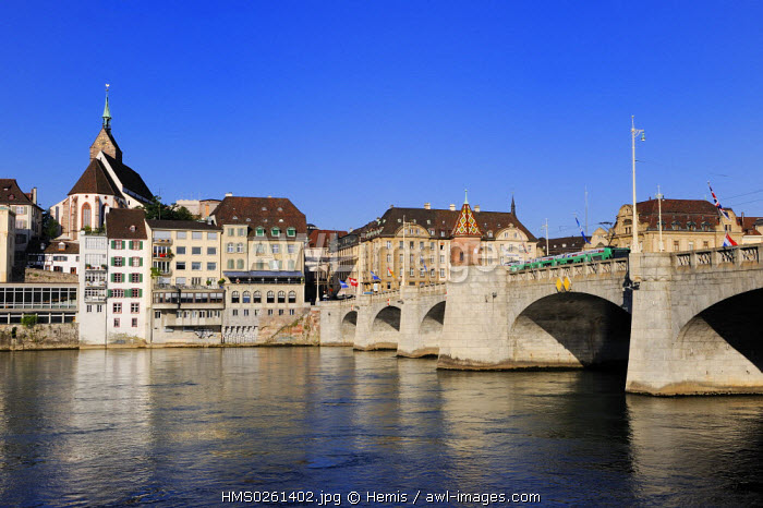 awl-images.com - Switzerland / Switzerland, Canton Basel-Stadt, Basel, the Mittlere Br�cke over the river Rhine