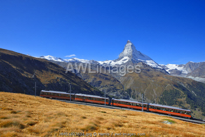 awl-images.com - Switzerland / Switzerland, Canton of Valais, Zermatt, Matterhorn (4478m) and Gornergrat train