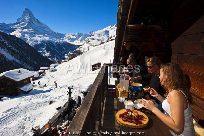 awl-images.com - Switzerland / Switzerland, Canton of Valais, Zermatt, Chez Vrony altitude restaurant in the middle of Findeln hamlet with the Matterhorn in the background