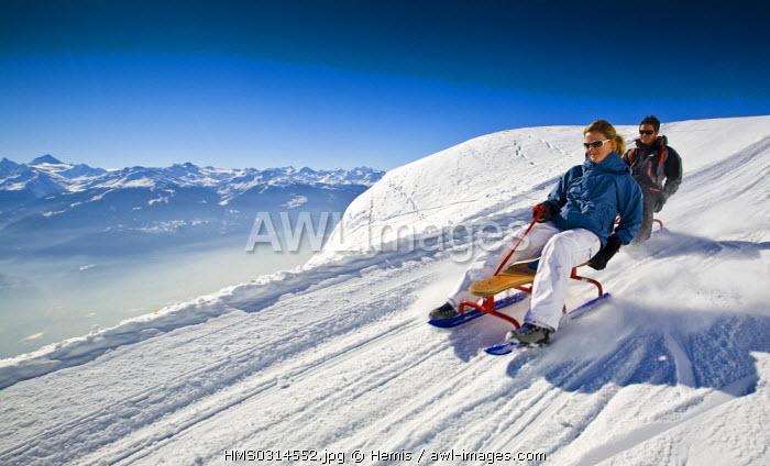 Switzerland, canton of Valais, Crans-Montana, Sledge slope
