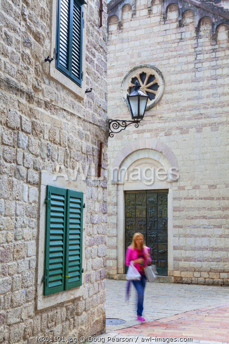 awl-images.com - Montenegro / Cobblestone streets in Kotor's Stari Grad (Old Town) and The Bay of Kotor, Kotor, Montenegro