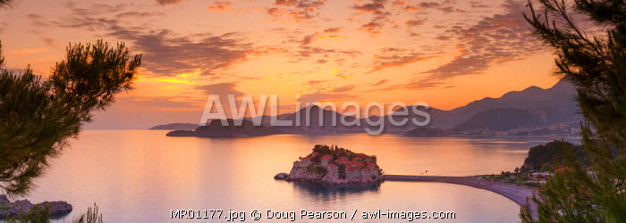 awl-images.com - Montenegro / The picturesque island village of Sveti Stephan illuminated at sunset, Sveti Stephan, Montenegro