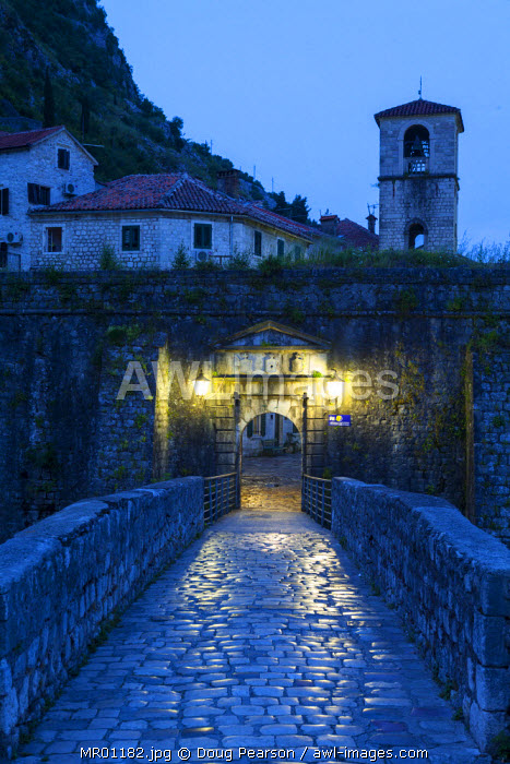 awl-images.com - Montenegro / The Northern Gate illuminated at dusk, Stari Grad (Old Town), Kotor, Montenegro