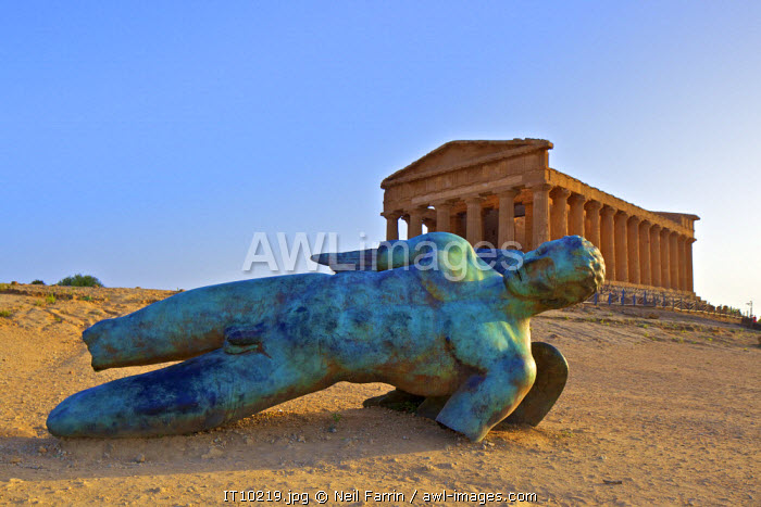 Statue at Temple of Concord, Valley of the Temples, Agrigento, Sicily, Italy