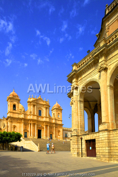 San Nicolo Cathedral with Noto Town Hall in the Foreground, Noto, Sicily, Italy