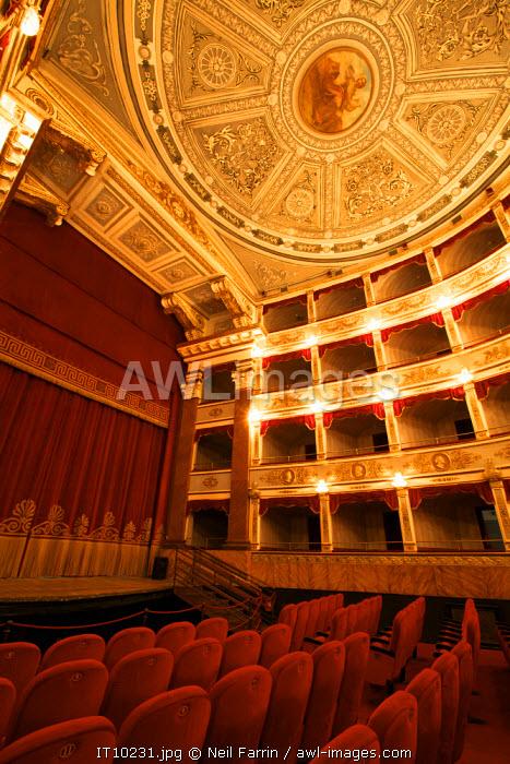 Interior of Noto Theatre (Teatro Comunale Vittorio Emanuele) in Piazza XVI Maggio,  Noto, Sicily, Italy
