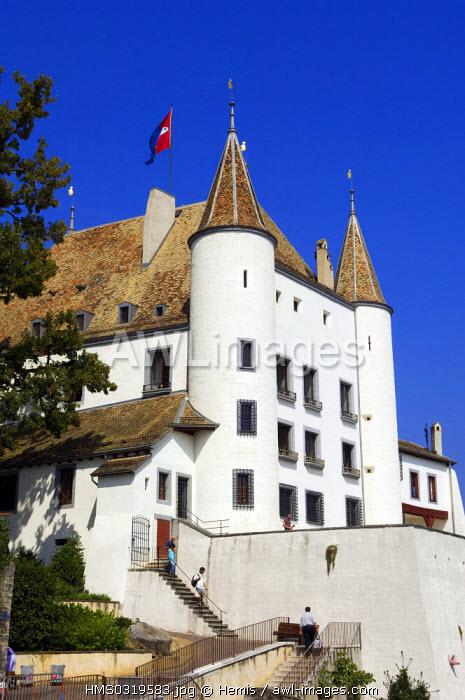 Switzerland, canton of Vaud, Nyon, Lake Geneva, Castle of Nyon dominating the old town