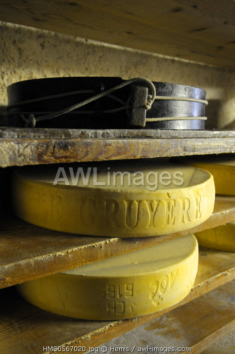 Switzerland, Canton of Vaud, Les Charbonnieres, chalet of Esserts, cheese dairy of high mountain pasture which produces some Swiss cheese AOC with fire wood