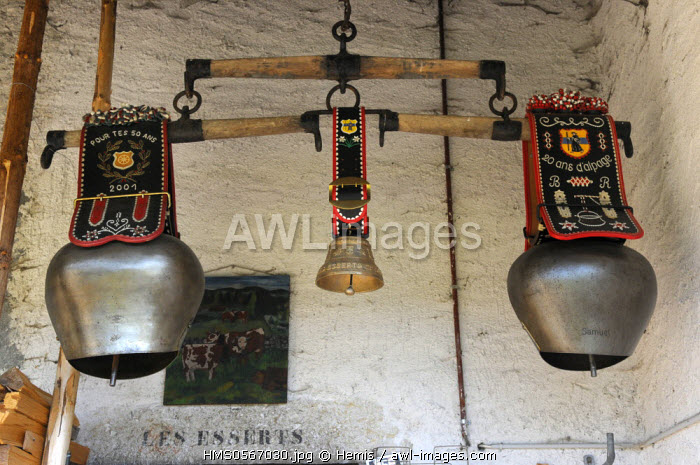 Switzerland, Canton of Vaud, Les Charbonnieres, Chalet Esserts, these bells are called Toupins
