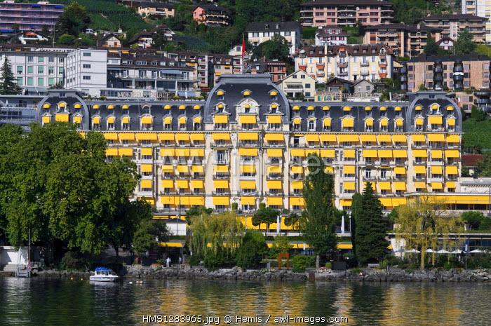 Switzerland, Canton of Vaud, Montreux, and the Montreux Palace hotel on Lake Geneva seen from boat omnibus Switzerland