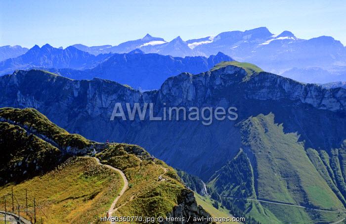 Switzerland, Canton of Vaud, Alps Vaudoises, panorama of the Naye Rocks