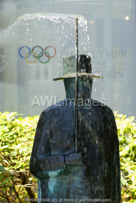 Switzerland, Canton of Vaud, Lausanne, Olympic museum in Lausanne, sculpture by Jean Michel Folon
