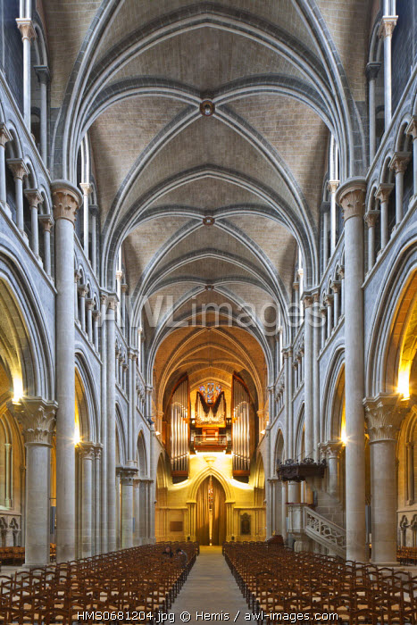 Switzerland, Canton of Vaud, Lausanne, Protestant gothic cathedral Notre Dame of Tyle built from 12th to 13th century AD and restaured during the 19th century by architect Eugene Viollet le Duc