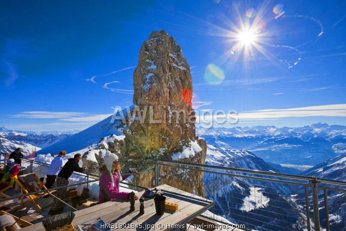 Switzerland, Canton of Vaud, Col de Pillon, Glacier 3000, the keel of the Devil, terrace refuge the Espace
