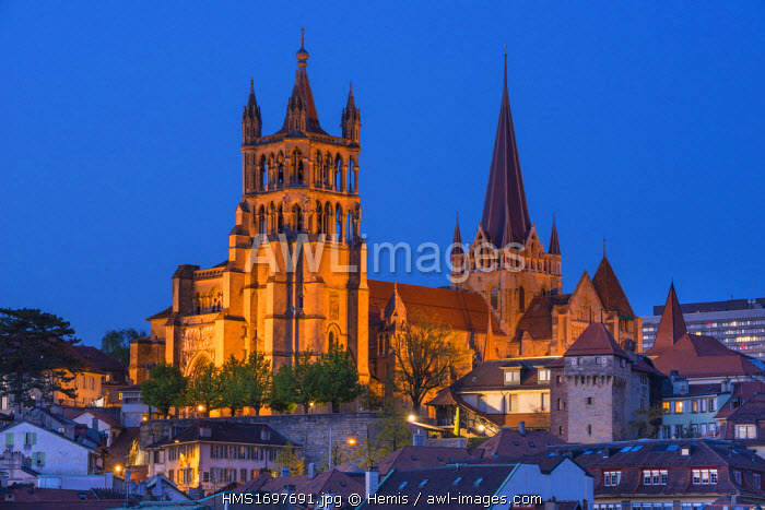 Switzerland, Canton of Vaud, Lausanne, city center, Notre Dame Cathedral