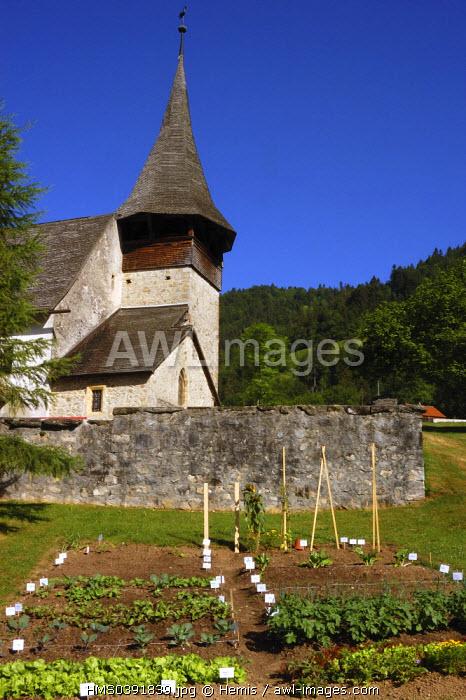 Switzerland, Canton of Vaud, Pays D'enhaut, Rossiniere, Roman Church built in 1316 dedicated to Sainte Marie Madeleine