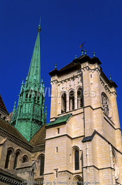Switzerland, Geneva, cathedrale Saint Pierre (Saint Peter's Cathedral ), 12th and 13th centuries, rebuilt in the 15th century