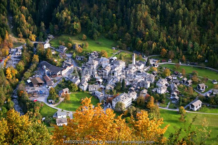 Switzerland, Central Alps, Val Bregaglia, Canton of Graubunden, Soglio village nicknamed the Heaven's Gate by poet Rainer Maria Rilke