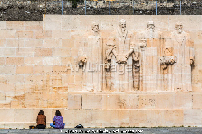 Switzerland, Geneva, Parc des Bastions, international monument Reformation or Reformation Wall with Guillaume Farel, John Calvin and Theodore Beza and John Knox