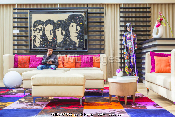 Switzerland, Geneva, N'vY hotel designed by architect Patrick Ribes, painting of the American rock band The Doors