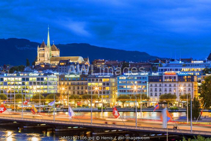 Switzerland, Geneva, Mont Blanc Bridge with St Peter's Cathedral