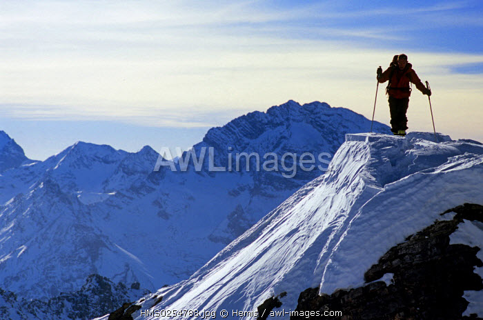 Switzerland, Graubunden, Monstein, Skier mountaineering arrival at the summit of the Alplihorn (3000m)